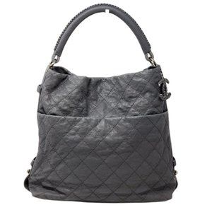 CHANEL Quilted Matelasse CC Caviar Skin Hobo Bag